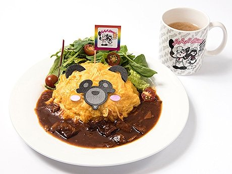 福岡パルコに期間限定コラボカフェ「AAA Diner」が登場(写真は「ふわふわ卵え~パンダのオムライス~デミグラスソース~」)