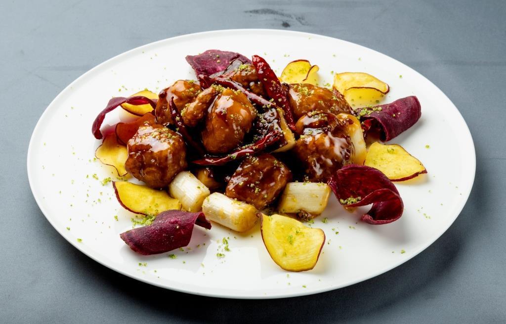 「中国料理 侑久上海」の「きなこ豚へべす風味辛子酢豚」