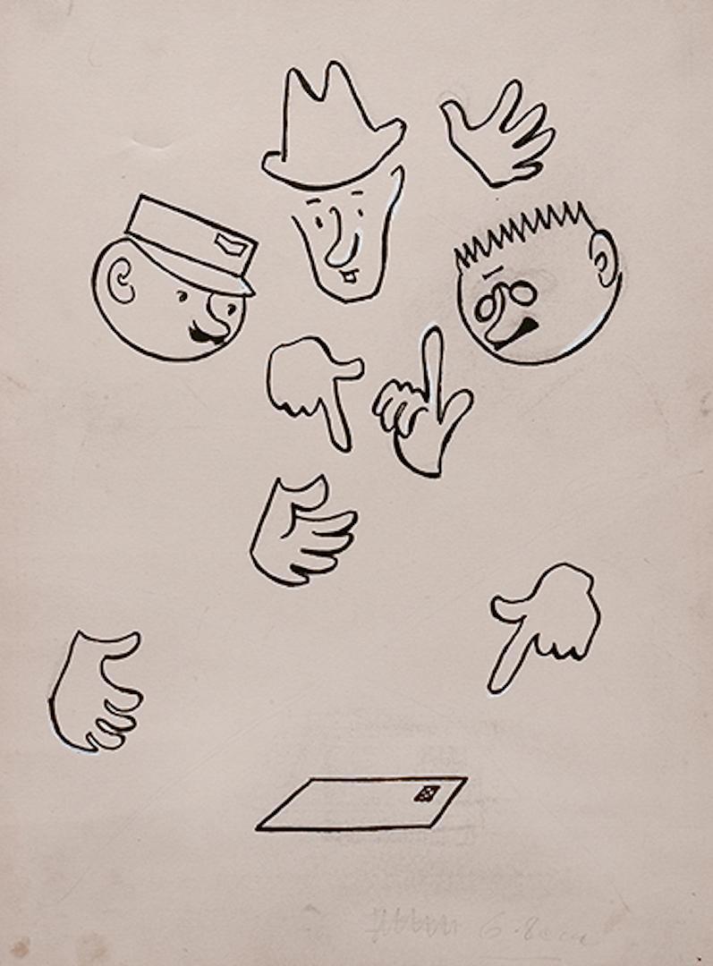 カレル・チャペック著、ヨゼフ・チャペック挿絵「郵便屋さんの話」1932年 インク、鉛筆、紙