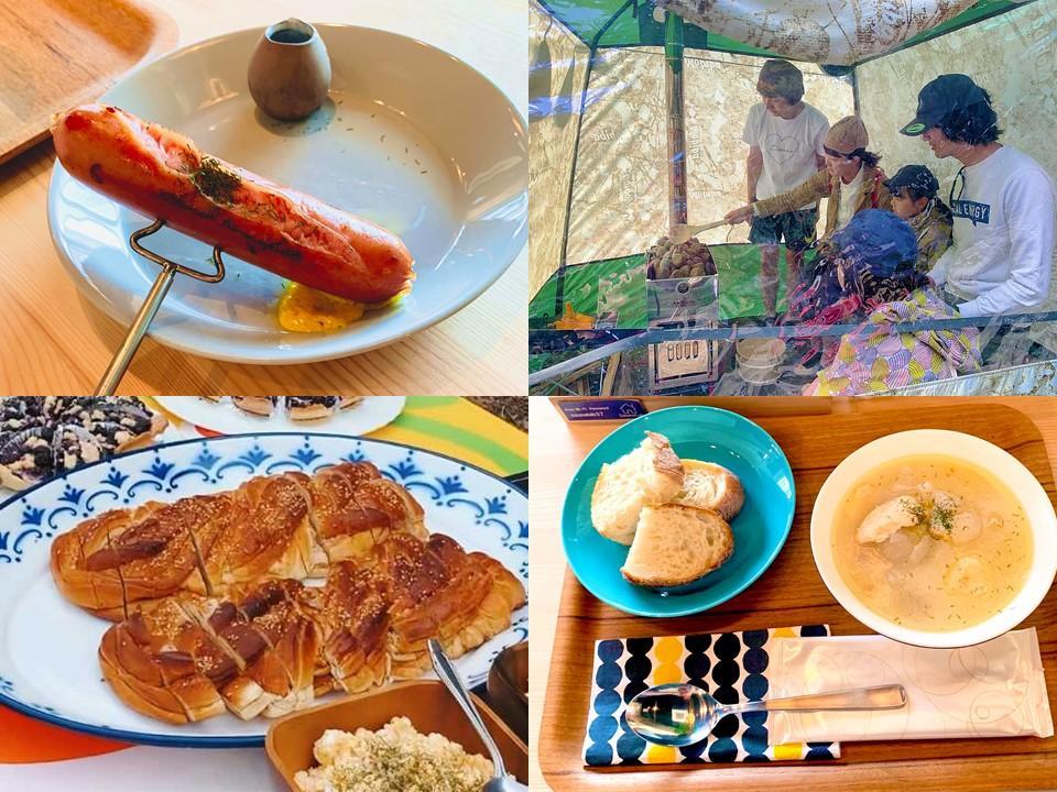 ロウリュの様子とフィンランドの料理(イメージ)