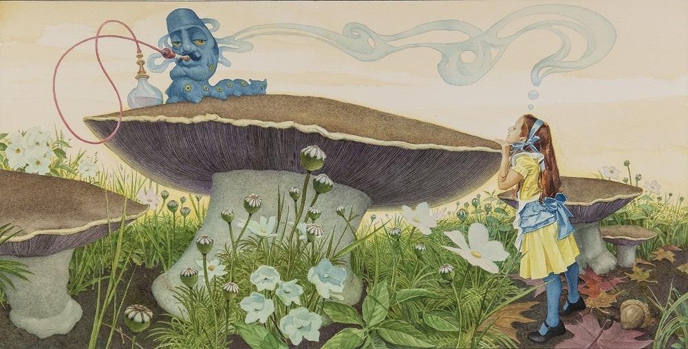 チャールズ・サントーレ「不思議の国のアリス」第5章より「イモ虫からの忠告」© 2017 Charles Santore