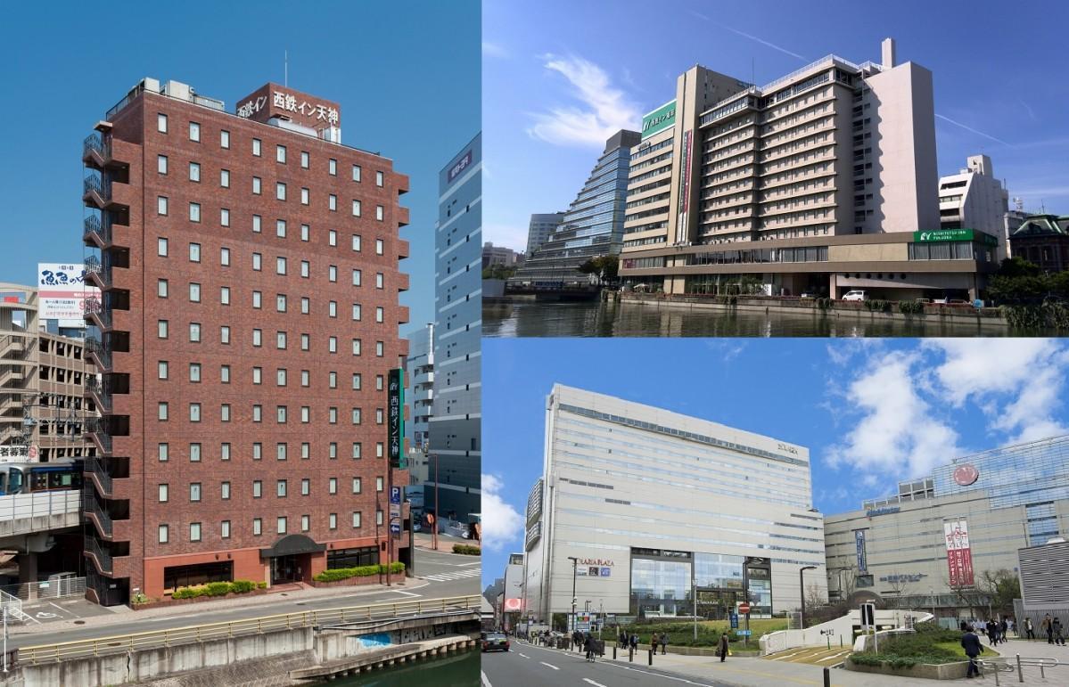 「西鉄イン天神」(左)、「西鉄イン福岡」(右上)、「ソラリア西鉄ホテル福岡」