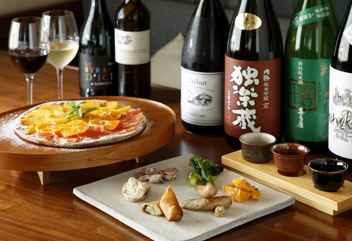 冬季限定コース「地域を味わう OSAKE の旅」の料理と酒