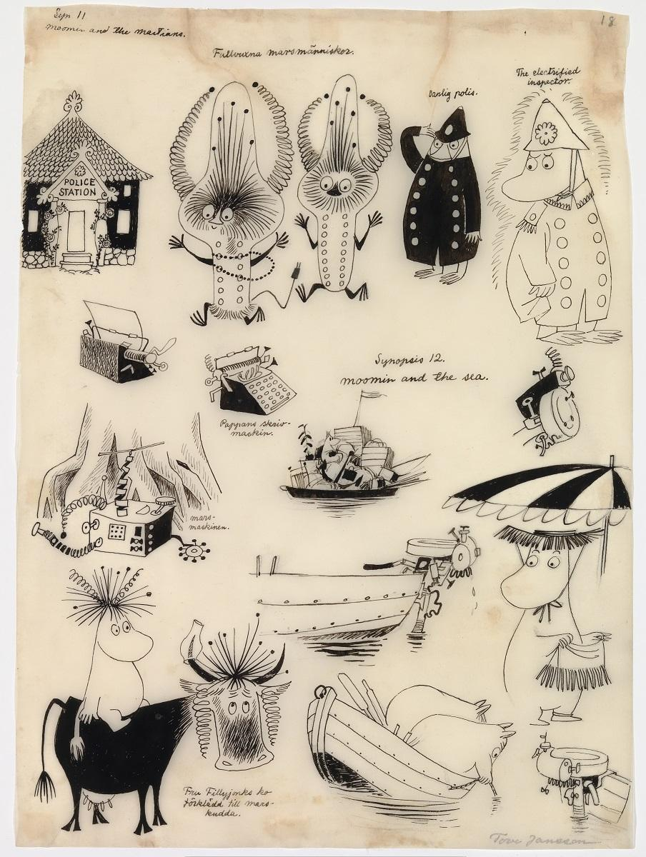 トーベ・ヤンソン 「まいごの火星人」 スケッチ(1957年)©Moomin Characters TM