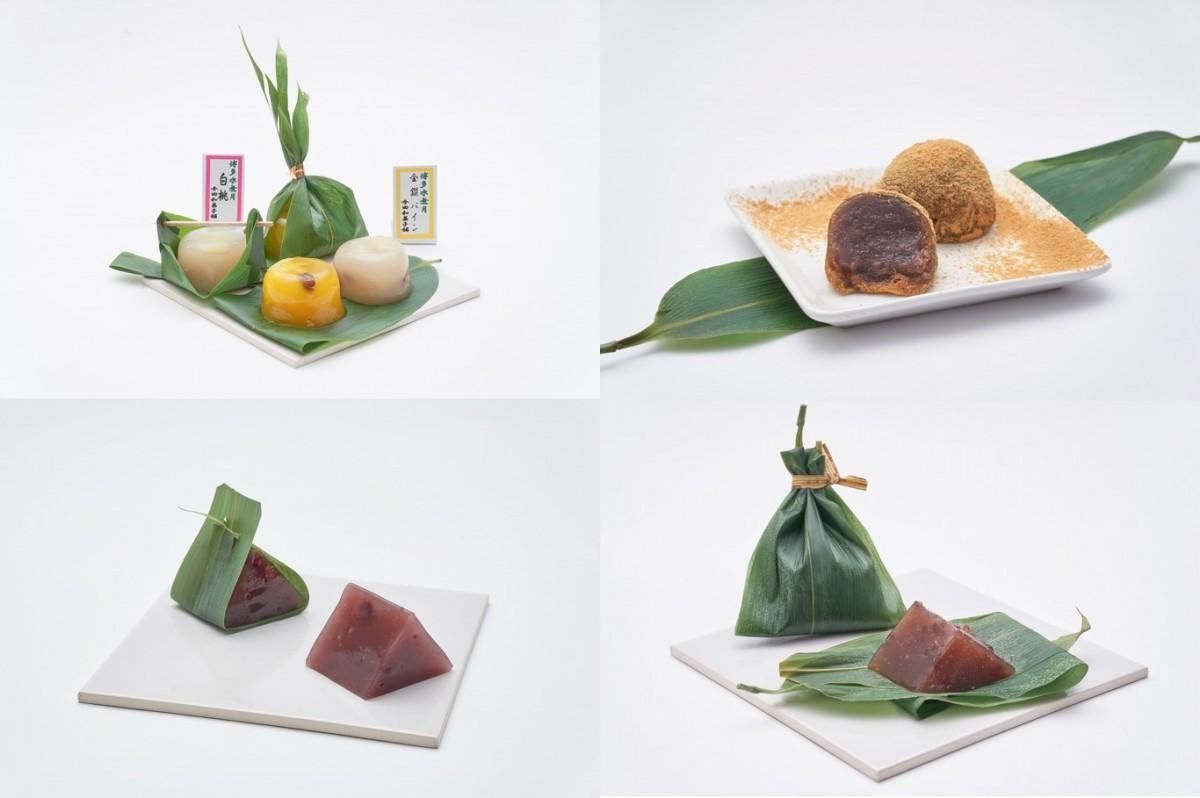(左上から時計回りに)「今田和菓子舗」「御菓子司 梅家」「富貴」「花月堂寿永」の博多水無月