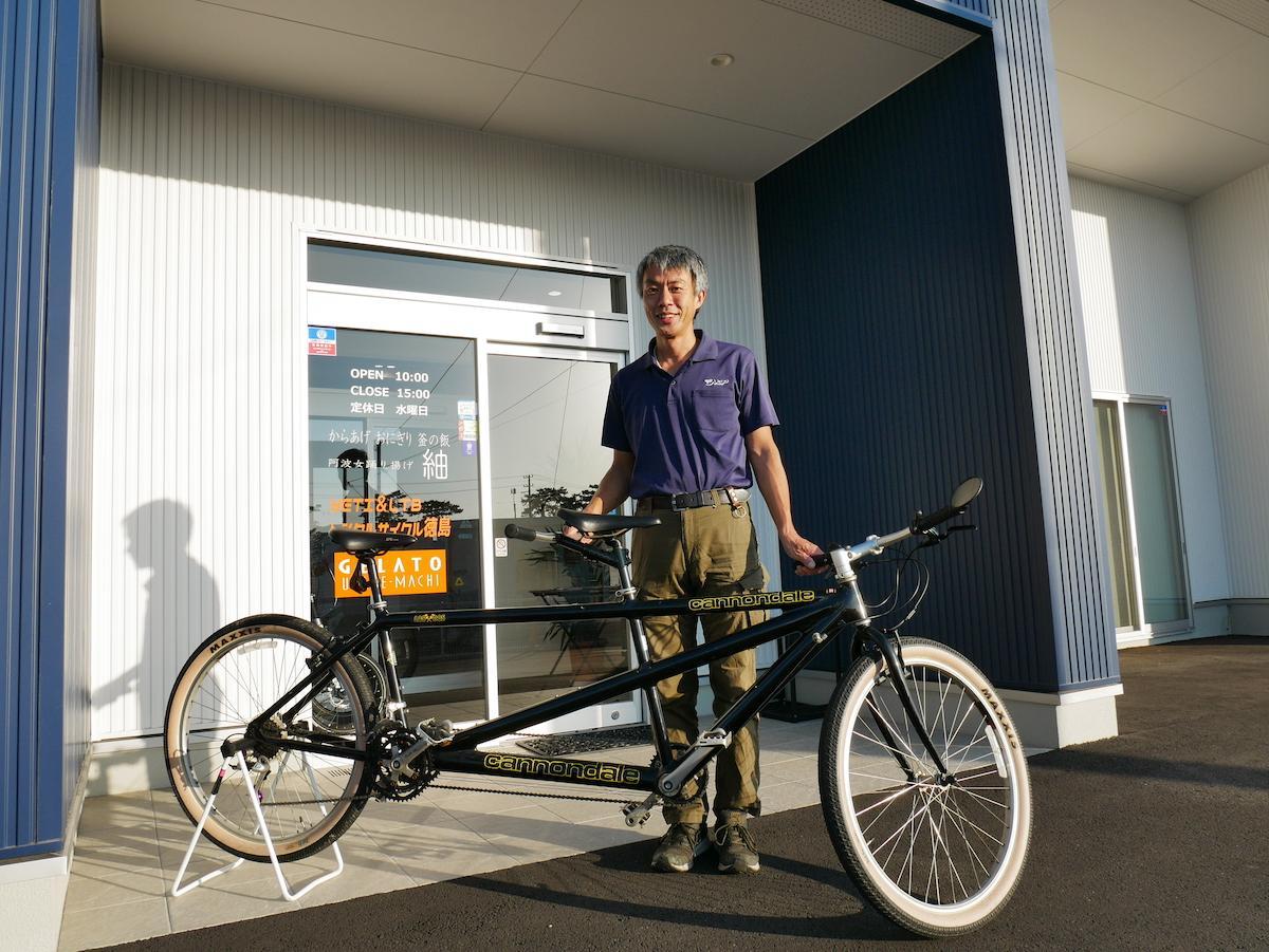 タンデム自転車と「YETI&LTBレンタルサイクル徳島」の大杉さん
