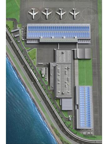 貨物ターミナルと太陽光発電設備の完成イメージ 提供:東京電力・三井物産