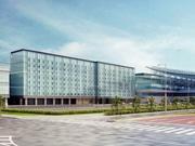 「ロイヤルパークホテル ザ 羽田」 の完成予想図。右手は国際線旅客ターミナルの本館。