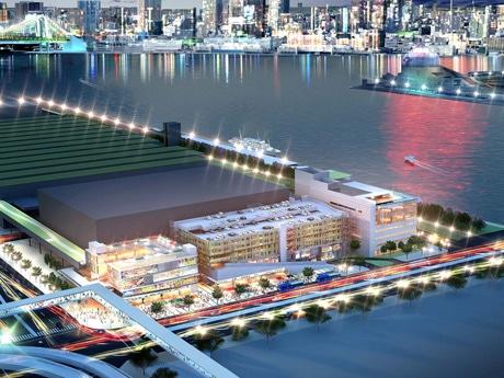 江東区豊洲に出現する新観光スポット「千客万来施設」の完成予想図。後方は東京都心・芝浦方面のビル群。