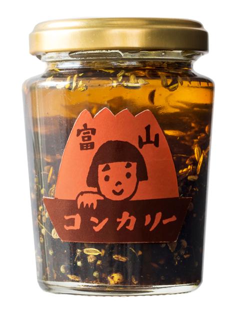 子どもにも大人気の「富山コンカリー」。富山湾と立山連峰をイメージさせるラベルデザインが目を引く。