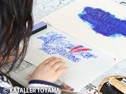 富山の伝統工芸で「カターレ富山」の応援旗 ゴールデンウイークに親子で制作