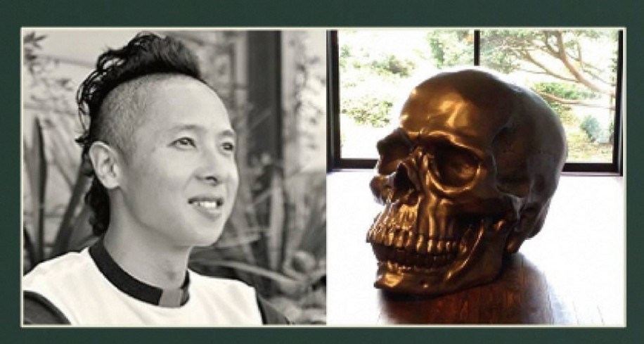 造形作家の清河北斗さんによるドクロの展示