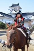 富山城址公園内に観光案内所 富山城をバックに甲冑の着付けと乗馬体験