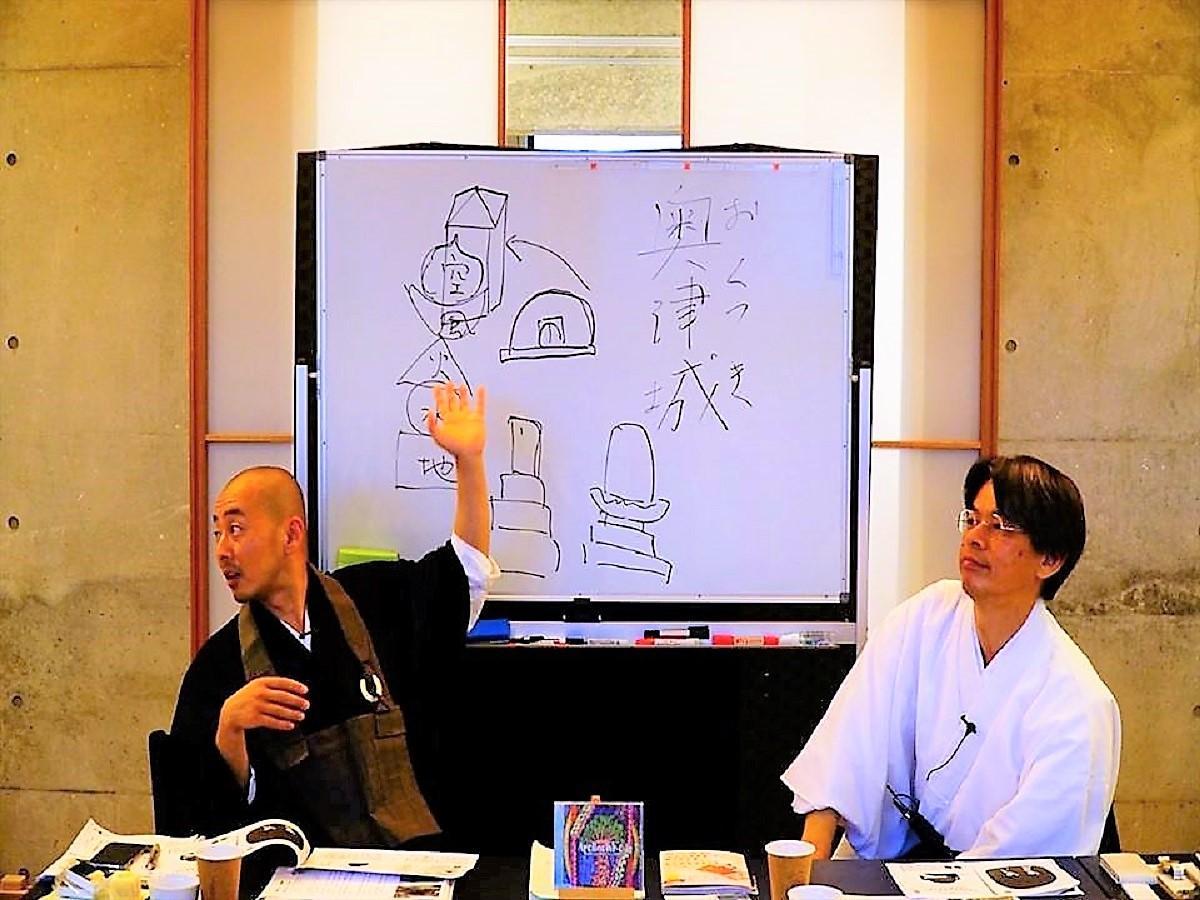 (左から)最勝寺の谷内さんと新川神社の船木さん