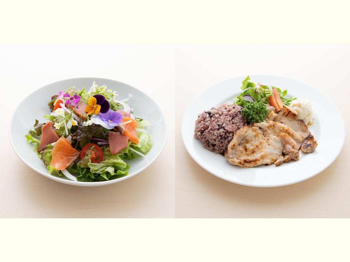 左から「エディブルフラワーサラダ(702円)」と「ポークソテープレート(1,280円)」