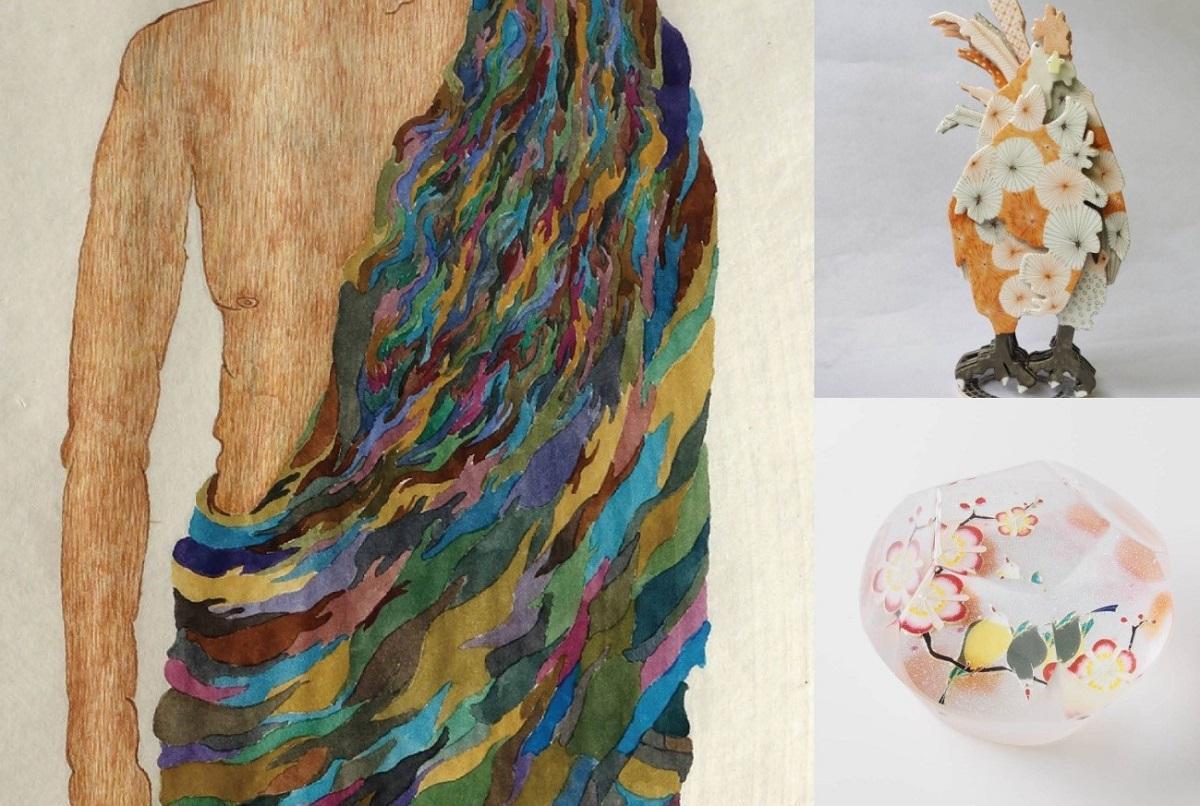 左は玉分さん、右上は梅田さん、右下は藤井さんの作品。