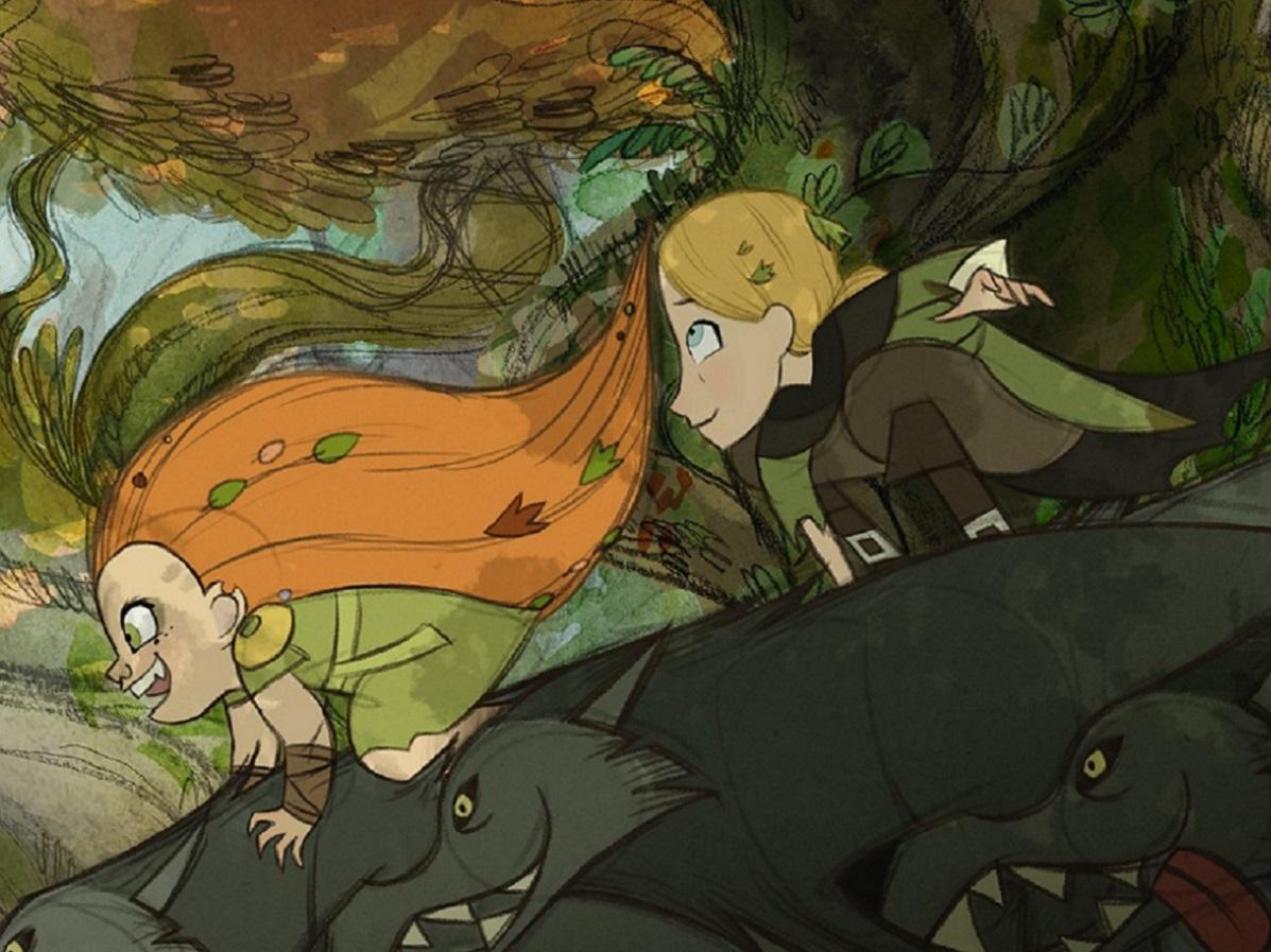 「ウルフウォーカー」のメーヴ(左)、主人公のロビン(右)