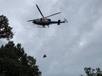 鞍ヶ池公園周辺で合同消防訓練 県の防災ヘリも出動