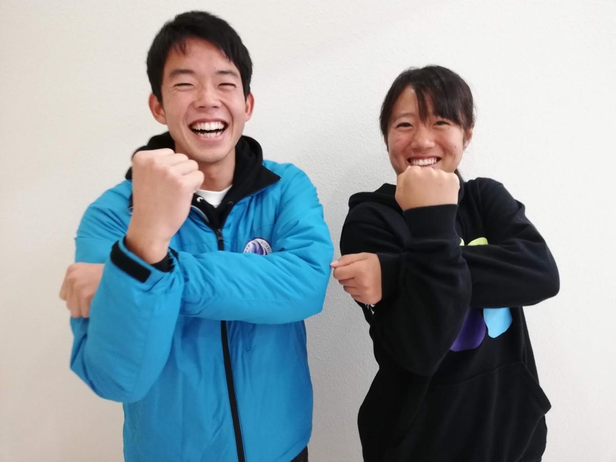 筑波大学MEIKEIオープンテニス 実行委員の高井敬太さんと草野京香さん