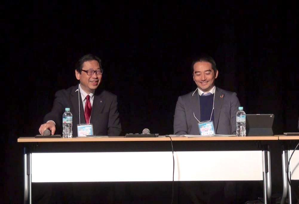 Tsukuba Mini Maker Faire2020での「防災」セッションの様子。防災科学技術研究所理事長の林春男さんとつくば市長の五十嵐立青さん