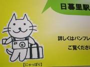 JR日暮里駅で「にゃっぽり」が活躍-女性駅員が手描きで制作