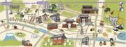日暮里駅で限定「谷根千マップ絵てぬぐい」-地域の街並みあしらう