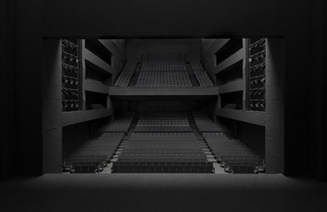 すべてが黒一色でまとめられた、ホール内部の完成イメージ