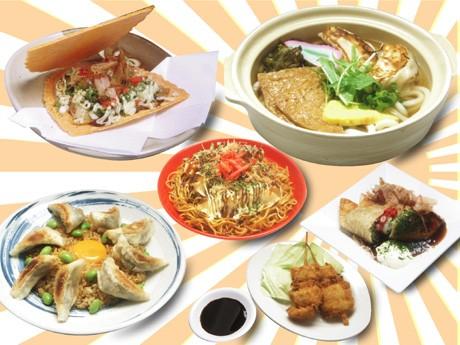 きつねうどんやたこ焼きなど大阪の食文化をギョーザで表現した「大阪餃子」は6種類