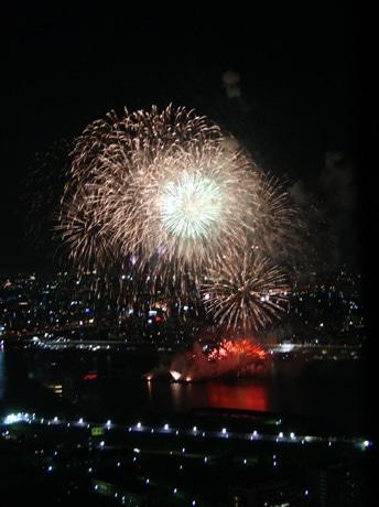 「第22回なにわ淀川花火大会」を空中庭園展望台から観覧