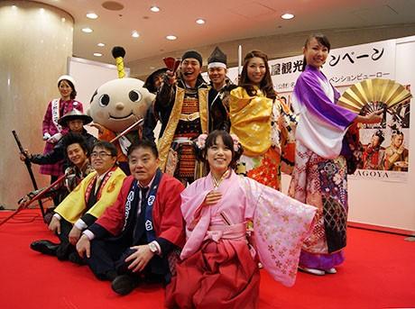 イベントに出演した「名古屋おもてなし武将隊」「あいち戦国姫隊」「はち丸」河村市長、大村県知事