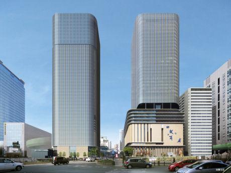 中之島フェスティバルタワー・ウエストの完成予想図(左)