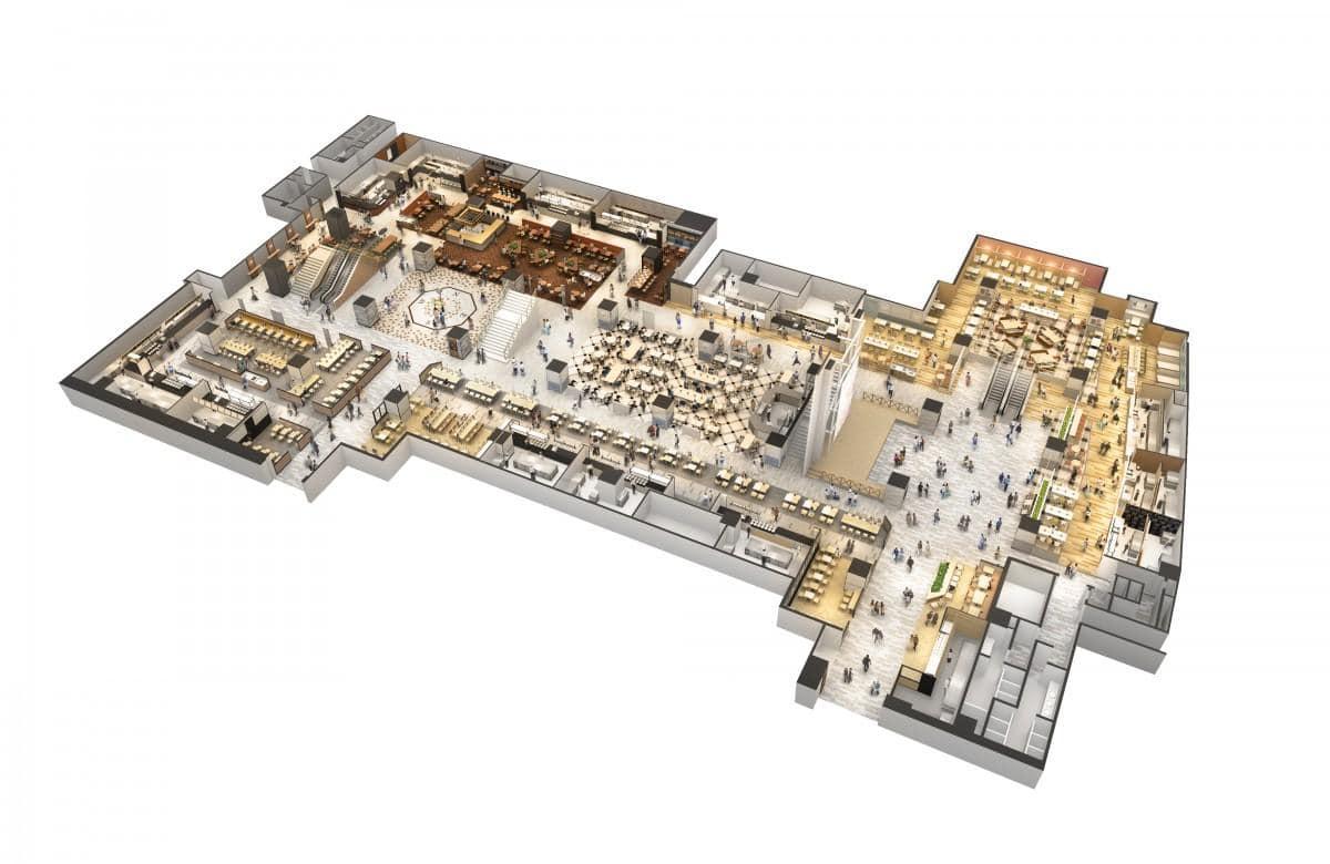 「ウメダ フードホール」鳥瞰図