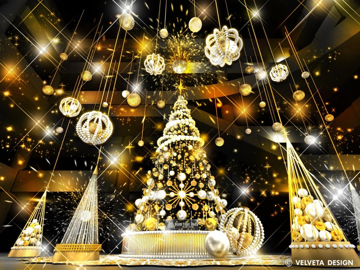 ゴールドを基調とした光輝くツリー(イメージ)