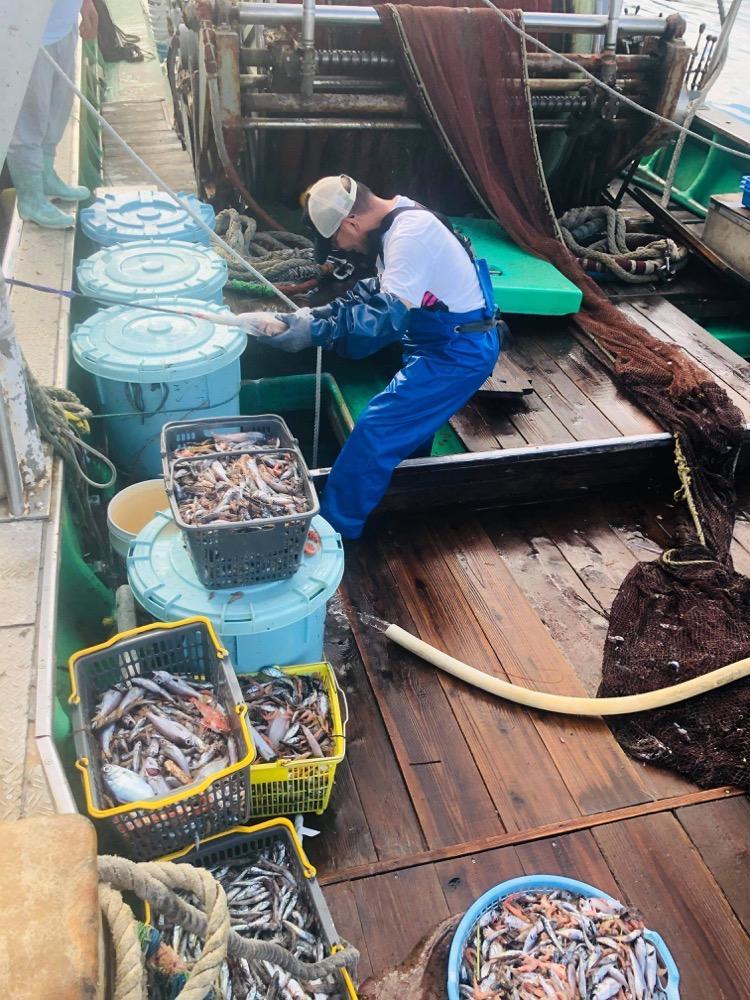 様々な深海魚を水揚げした漁師