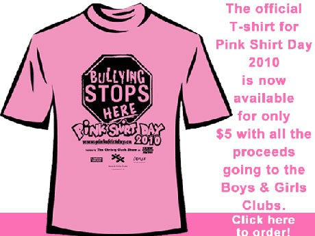 今年は4月14日にいじめ反対を呼びかける「ピンク・シャツ・デー」を行う。
