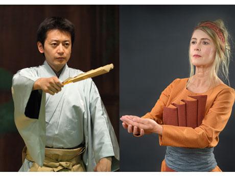 出演する能楽師の山井綱雄さん(左)とヘザー・ポウシーさん(右)(Photo=Trevan Wong)