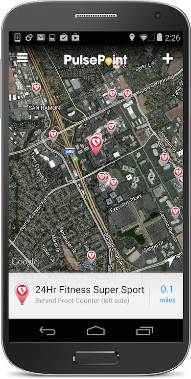 心停止発生時の対応アプリ「PulsePoint」のスクリーンショット