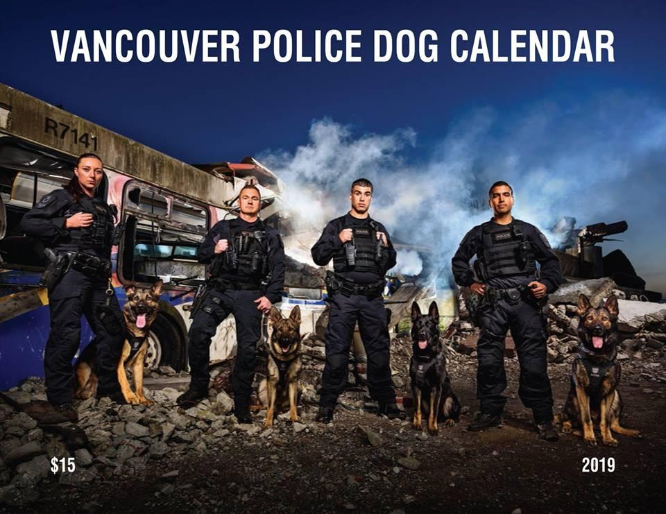 2019年用カレンダー「Vancouver Police Dogs Calendar 2019」の表紙 (Photo=Vancouver Police Department)