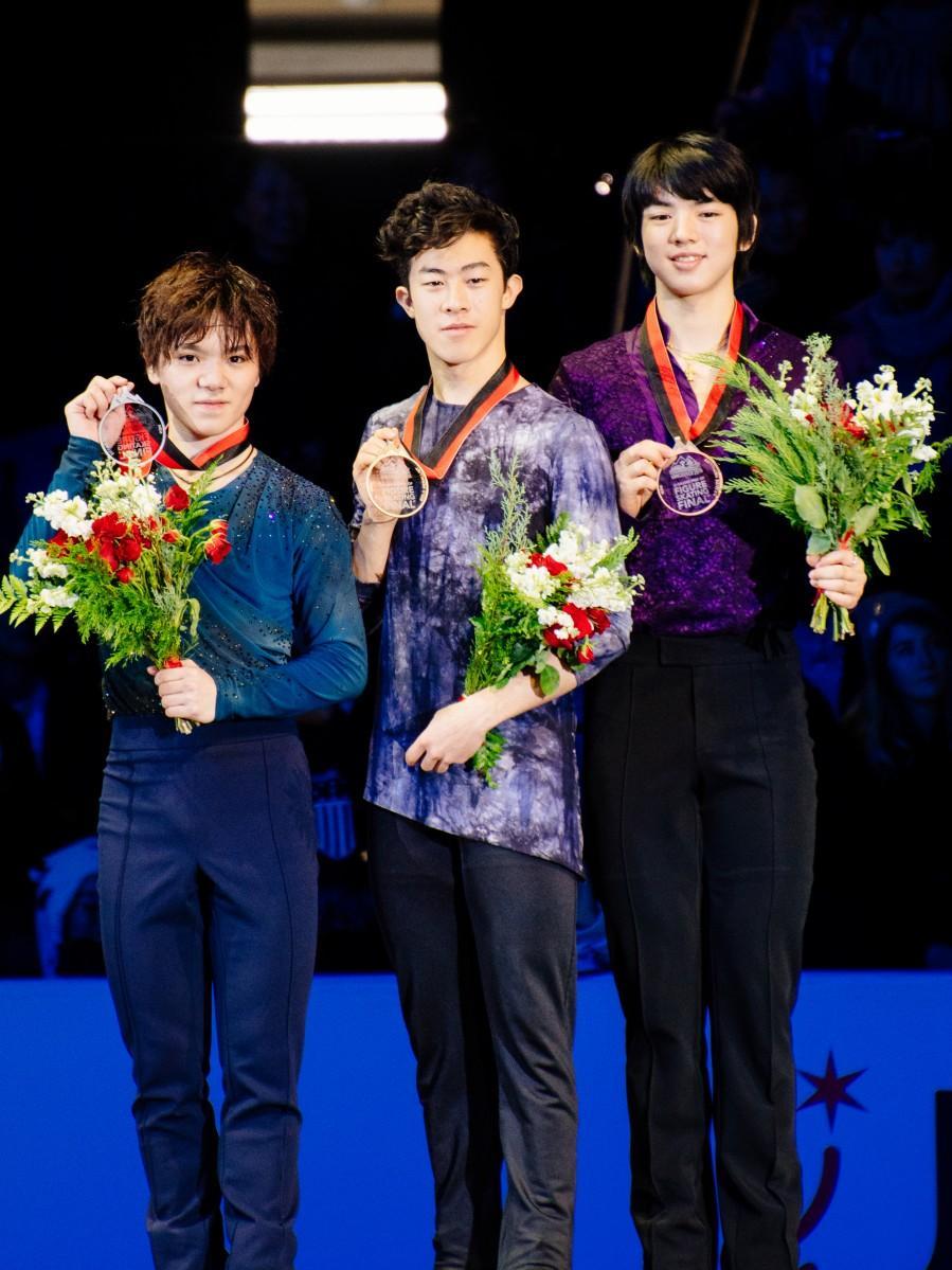 ネーサン・チェン選手が優勝、2位は宇野昌磨選手、3位はチャ・ジュンファン選手(Photo=Moe M Yang)