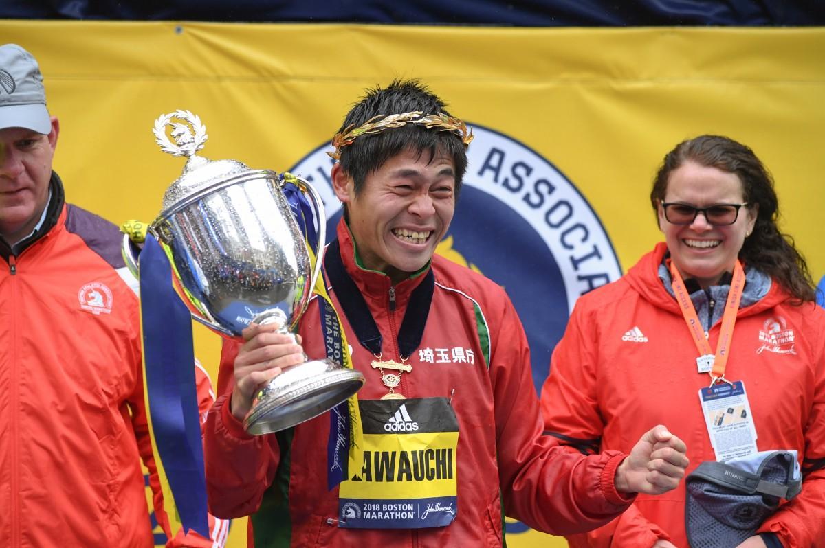 昨年のボストンマラソン優勝時の川内選手 (Photo= Boston Athletic Association)