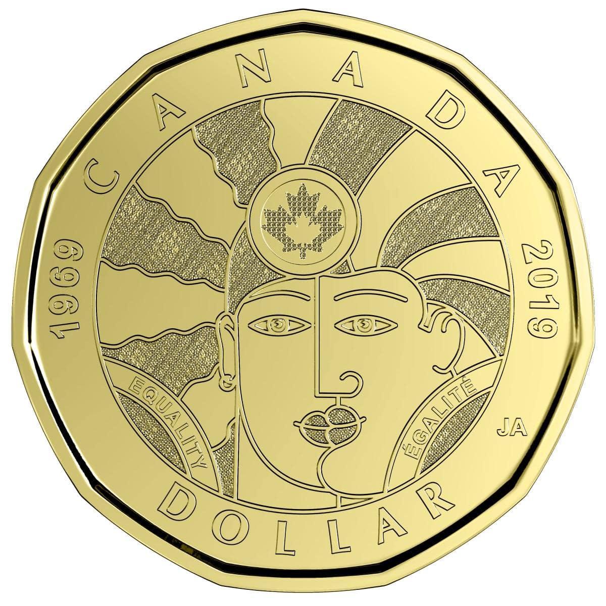 LGBTQ2記念デザインの1ドル硬貨「平等(Equality)」(画像提供=Royal Canadian Mint)