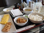 A Japanese Style Breakfast with Grilled Salmon, Miso Soup, and Natto at a Caf? in Vancouver is in the Air