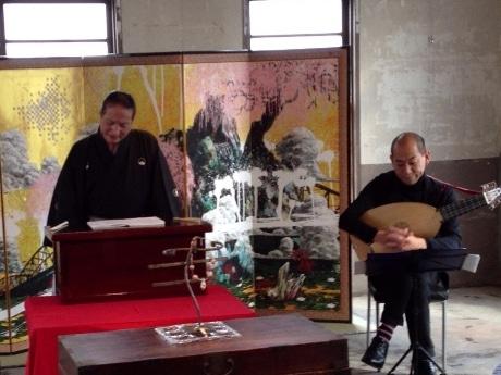 11月4日の公演風景-池原悠太の屏風が物語に華を添えた