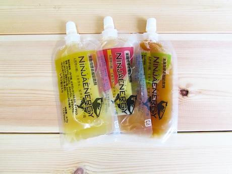 ニンジャエナジー3種、レモン果汁入り(左)、梅果汁入り(右)