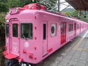 和歌山・南海加太線で観光列車「めでたいでんしゃ」運行始まる ピンクの「タイ」に歓声