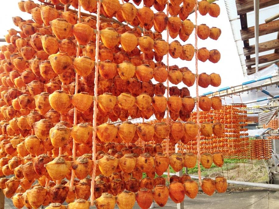 縄の外側に2個ずつ、内側に6個の計10個を1本の串に刺して干す串柿