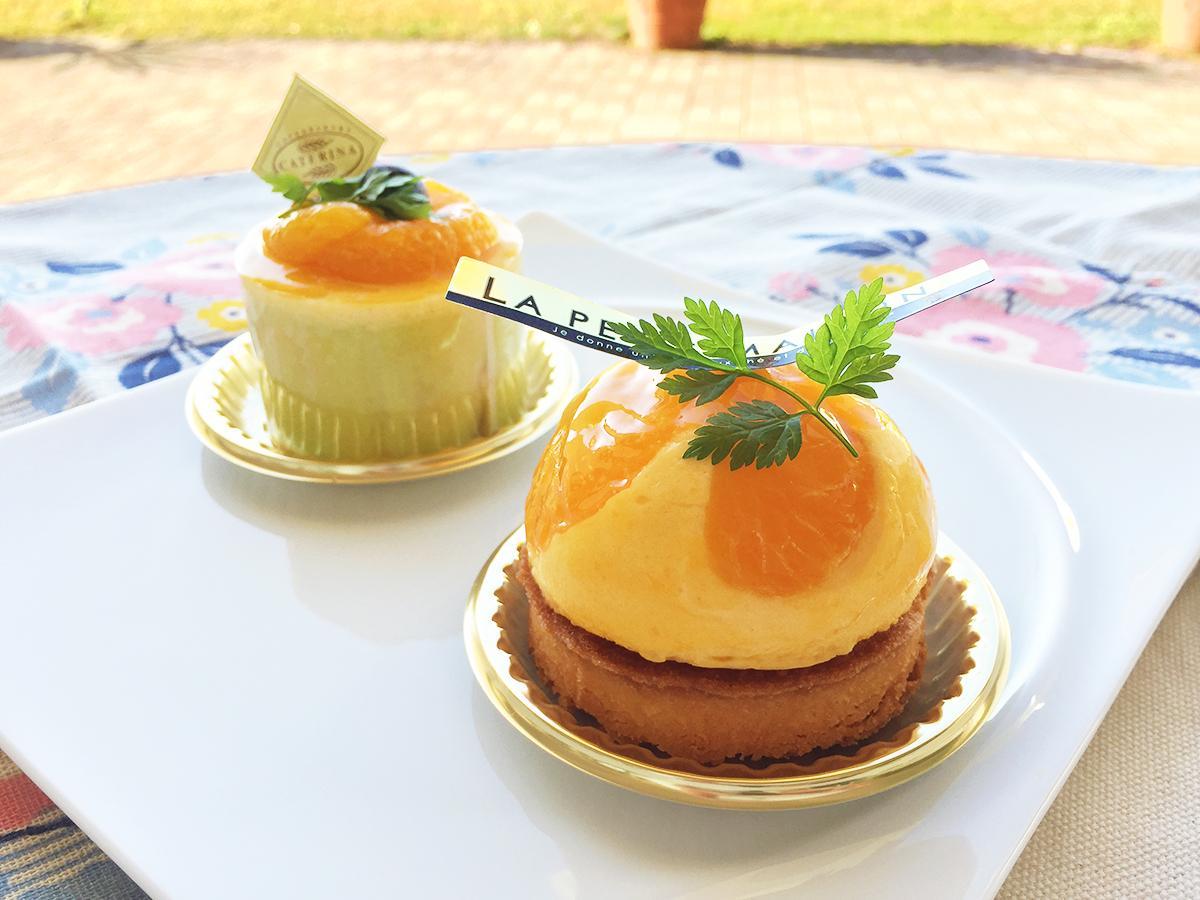 「有田みかんムース」(左)と「有田みかんのタルト ココナッツ風味」