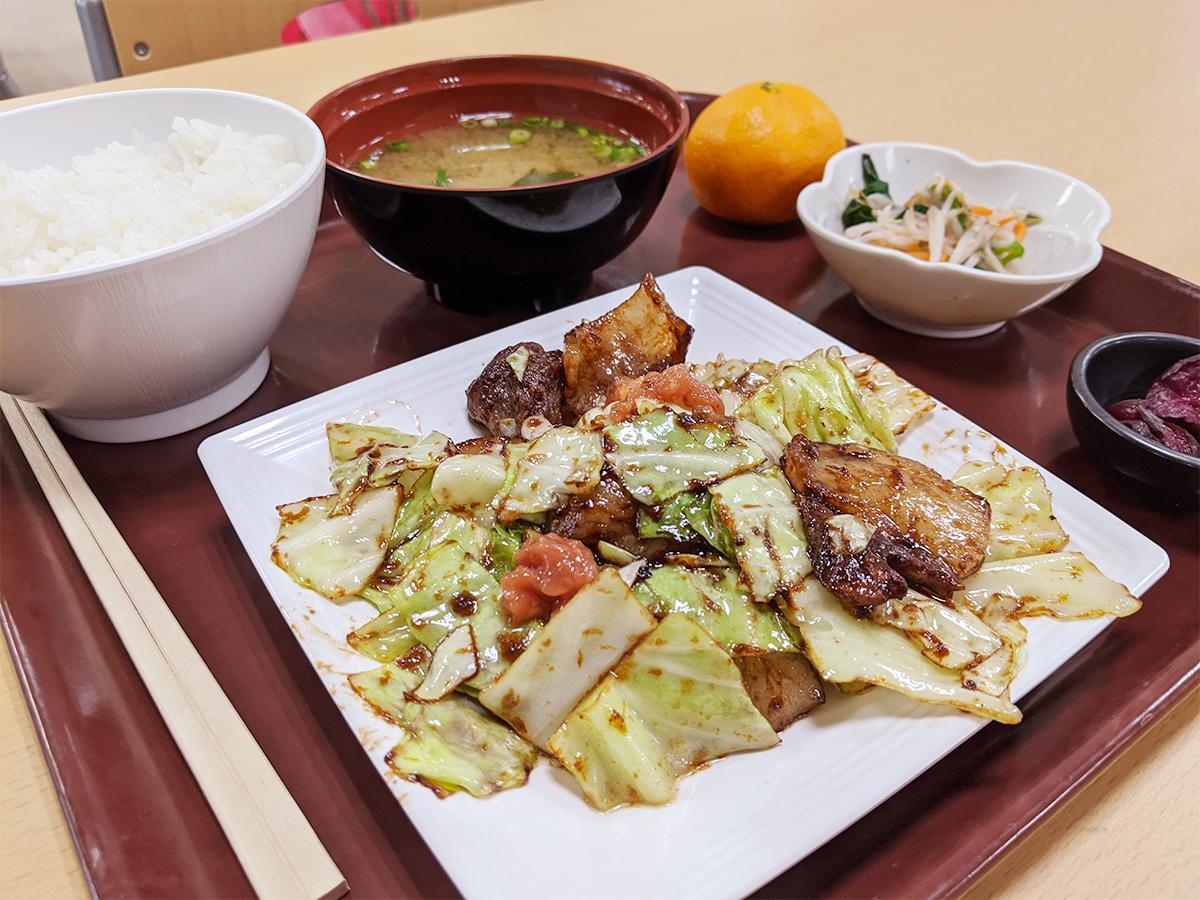 和歌山県庁内の「きいちゃん食堂」で提供する「イノシシとキャベツの 梅味噌(みそ)炒め~紀州南高梅添え~」