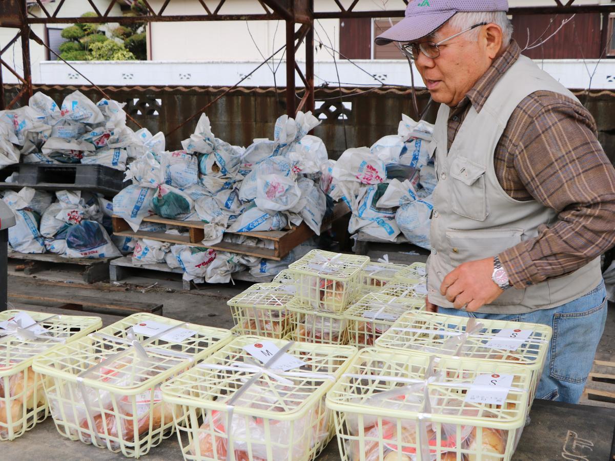 タケノコをトラックに積み込む生産者の谷口さん