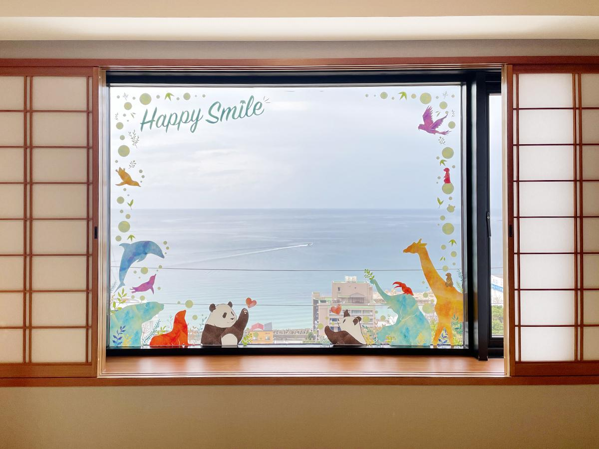 コラボレーションルーム「ハッピーパンダルーム」の海に面した窓